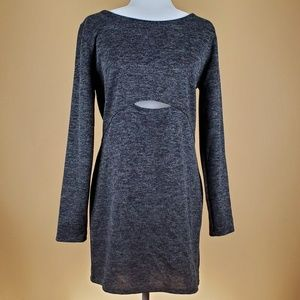 Wild Fable Grey Long Sleeved Cut-Out Dress